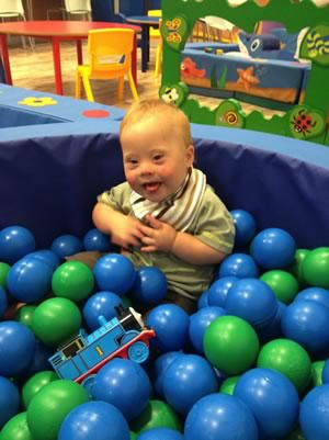 Toby playing in ball pool